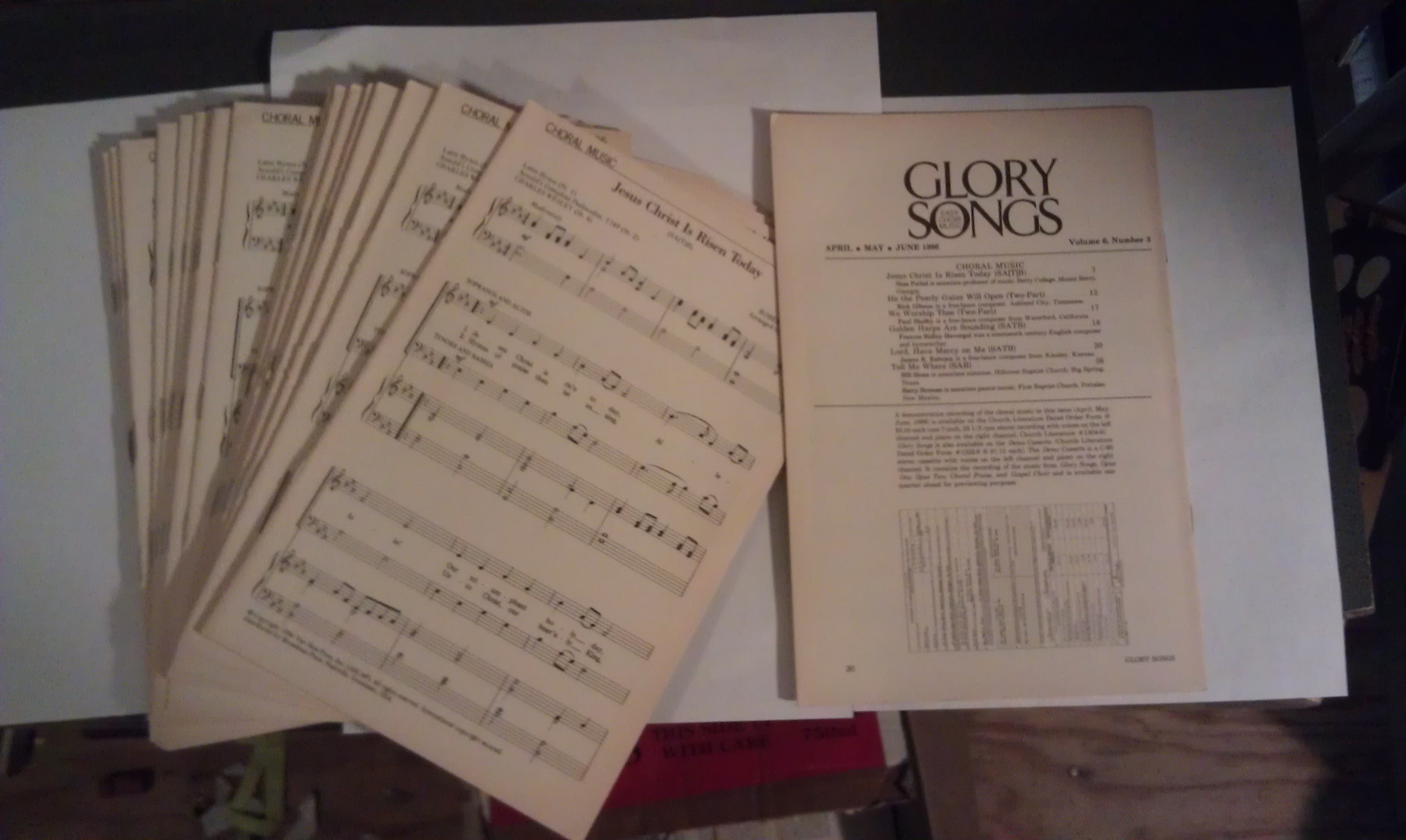 Image for Glory Songs: Easy Choir Music (19 copies) vol. 6, number 3