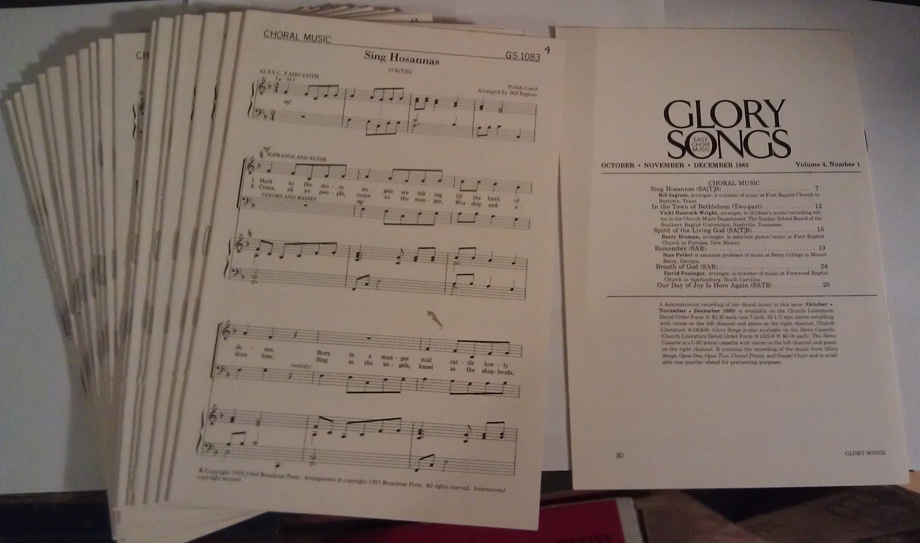 Image for Glory Songs: Broadman Press (22 copies) Vol. 4, Num 1