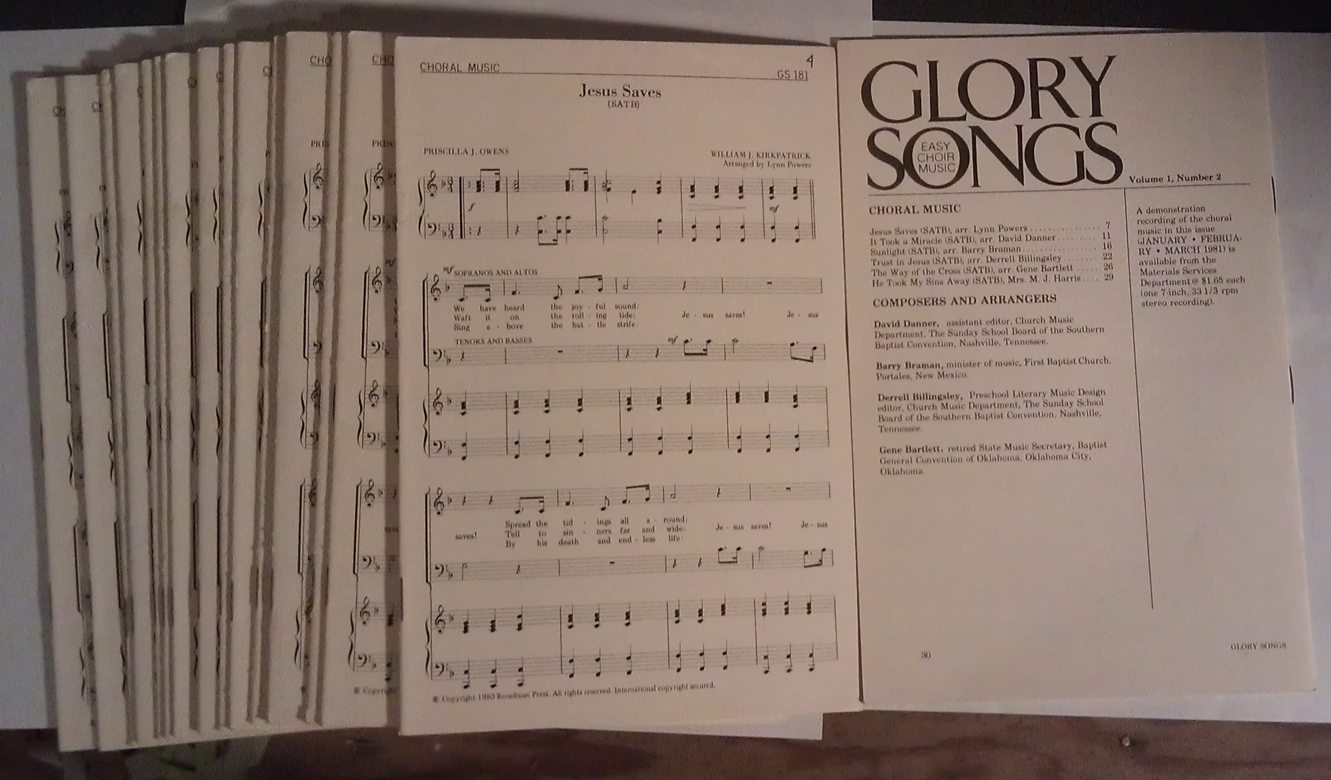 Image for Glory Songs: Easy Choir Music (18 copies) Vol. 1, Number 2