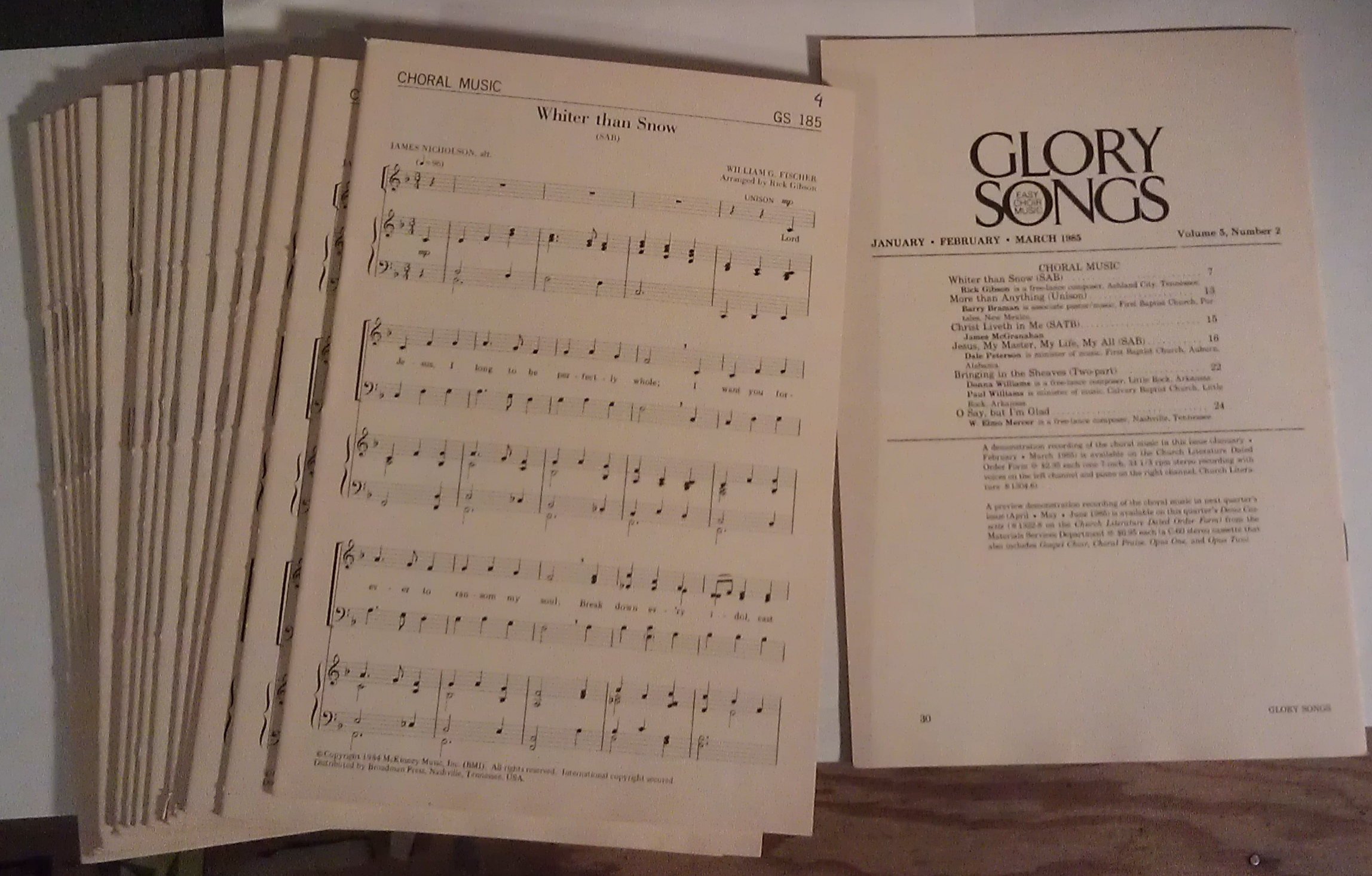 Image for Glory Songs: Easy Choir Music (18 copies) Vol. 5, Number 2